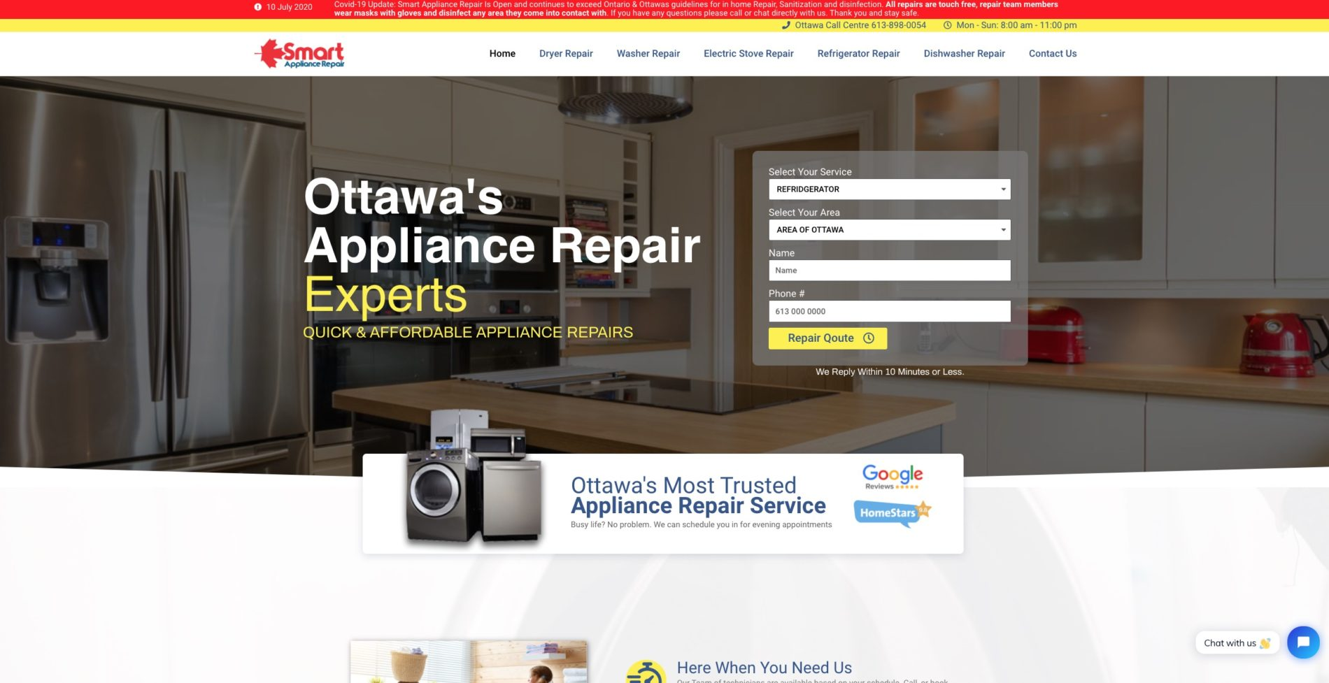 appliance repair website design company