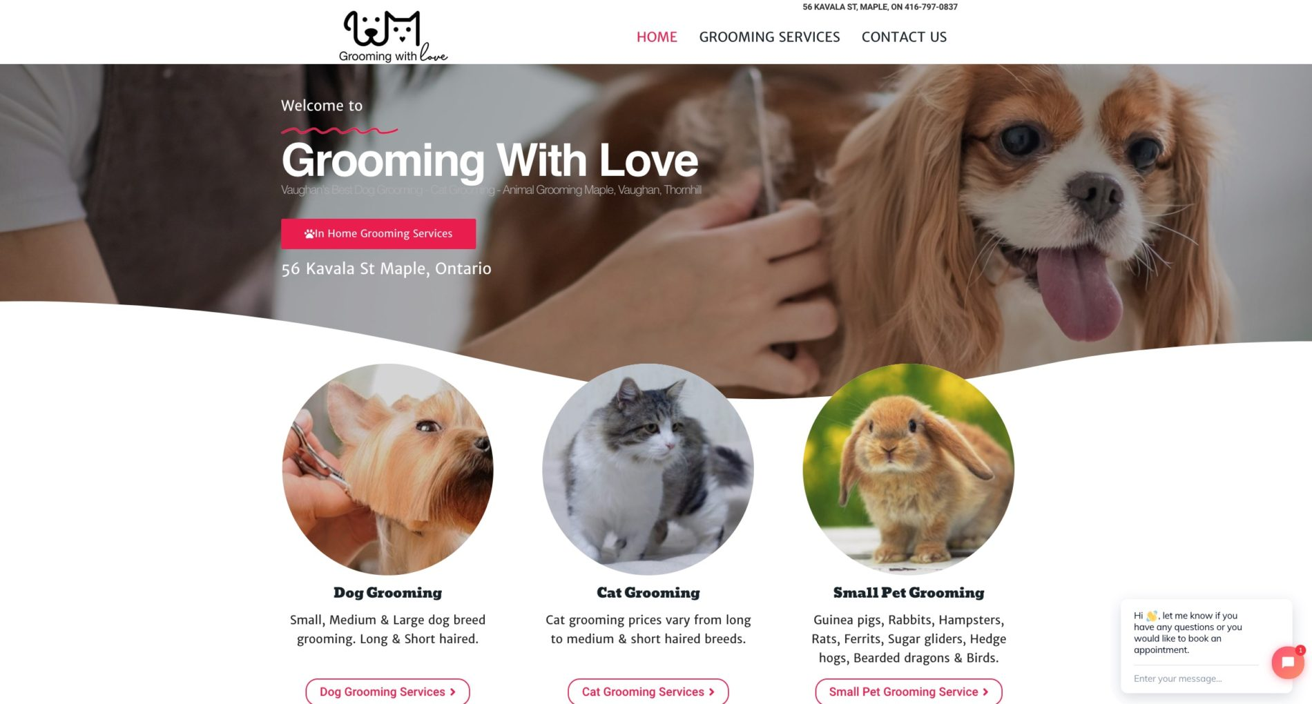 dog grooming website design company
